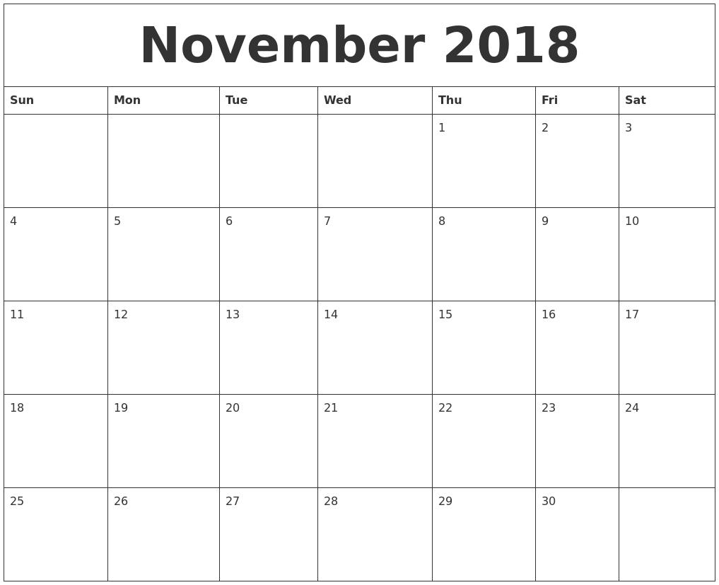November 2018 Blank Monthly Calendar Pdf