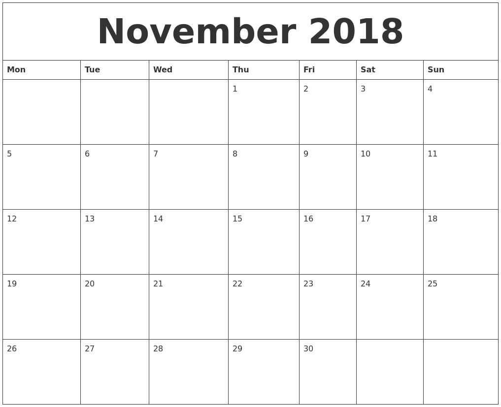 November 2018 Blank Monthly Calendar Template