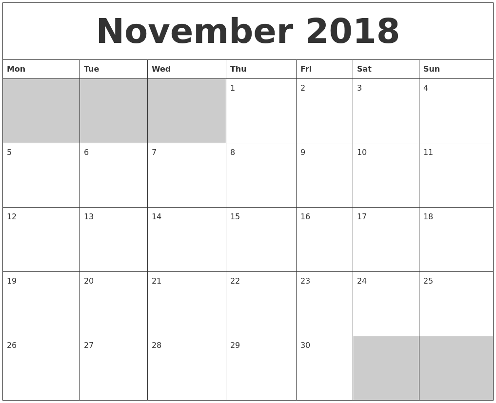 november 2018 blank printable calendar