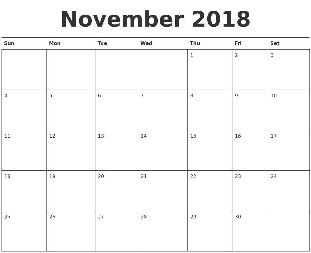 November 2018 CalendarPrintable
