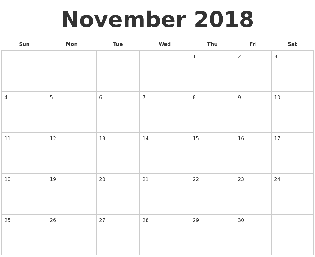 Monthly Calendar Nov : October monthly calendar template