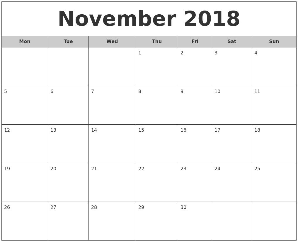 Monthly Calendar Report : November free monthly calendar
