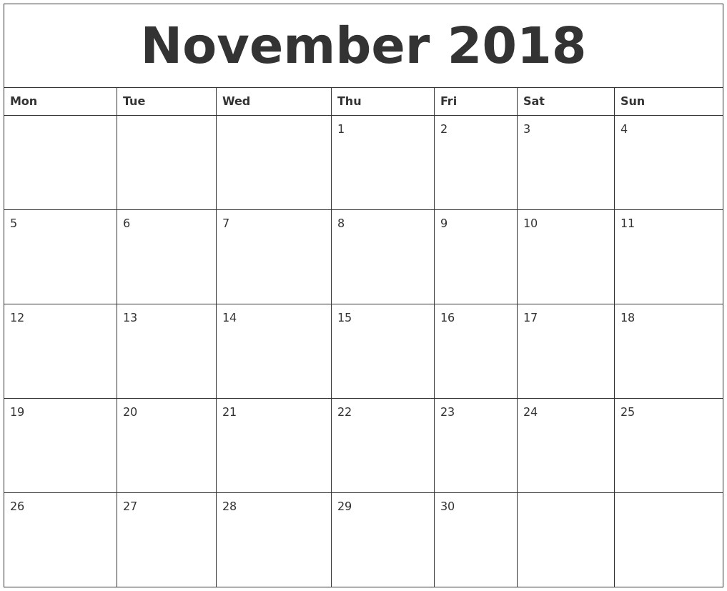 November 2018 Free Printable Monthly Calendar
