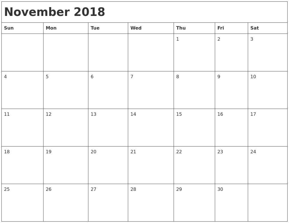 november 2018 month calendar