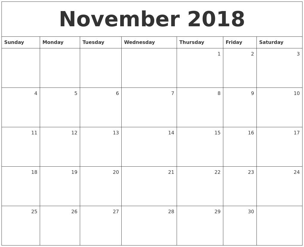 Monthly Calendar Nov : November monthly calendar
