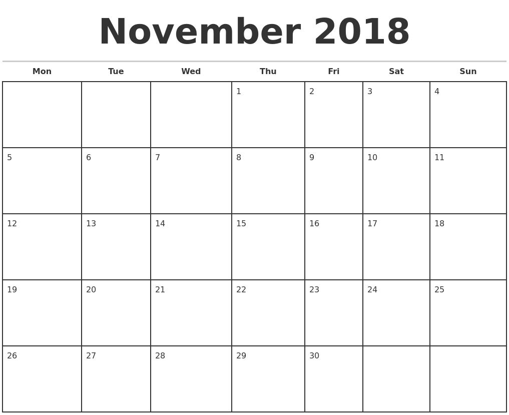 November 2018 Monthly Calendar Template