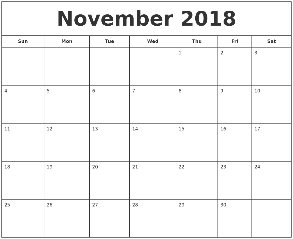 november 2018 print free calendar