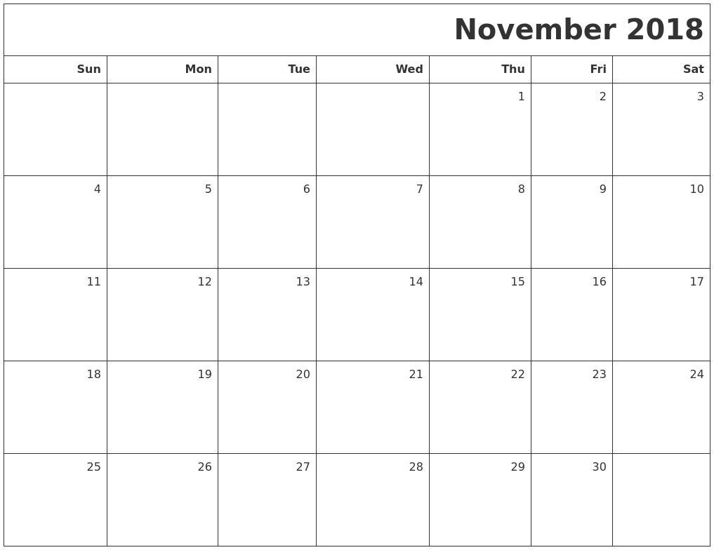 blank calendar november 2018 printable - Keni ...