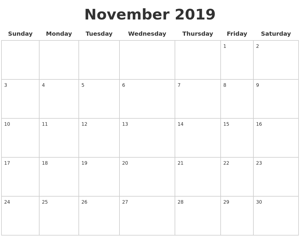 November 2019 Blank Calendar Pages PDF's