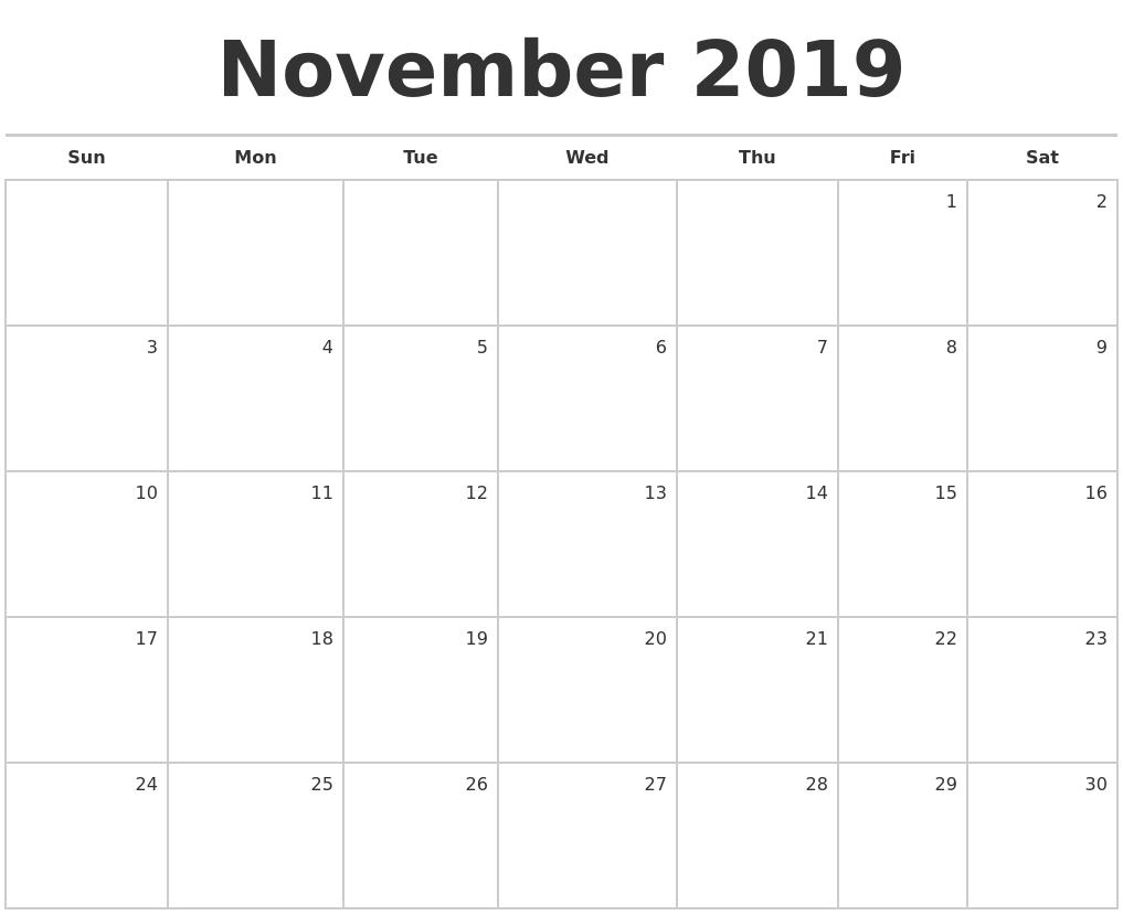 november 2019 blank monthly calendar
