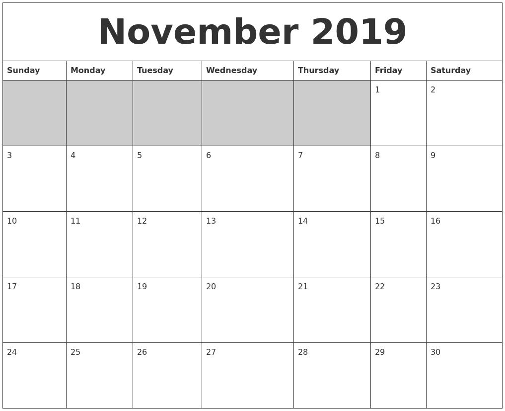 November 2019 Blank Printable Calendar