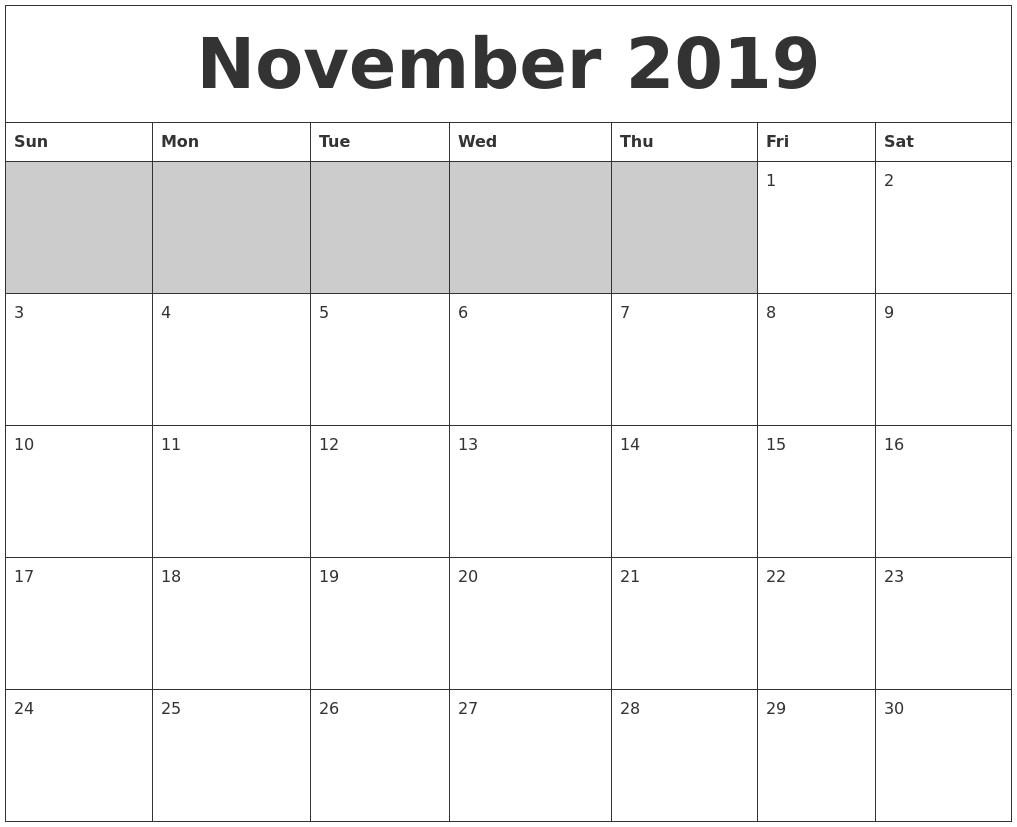 Blank Calendar Nov : November blank printable calendar