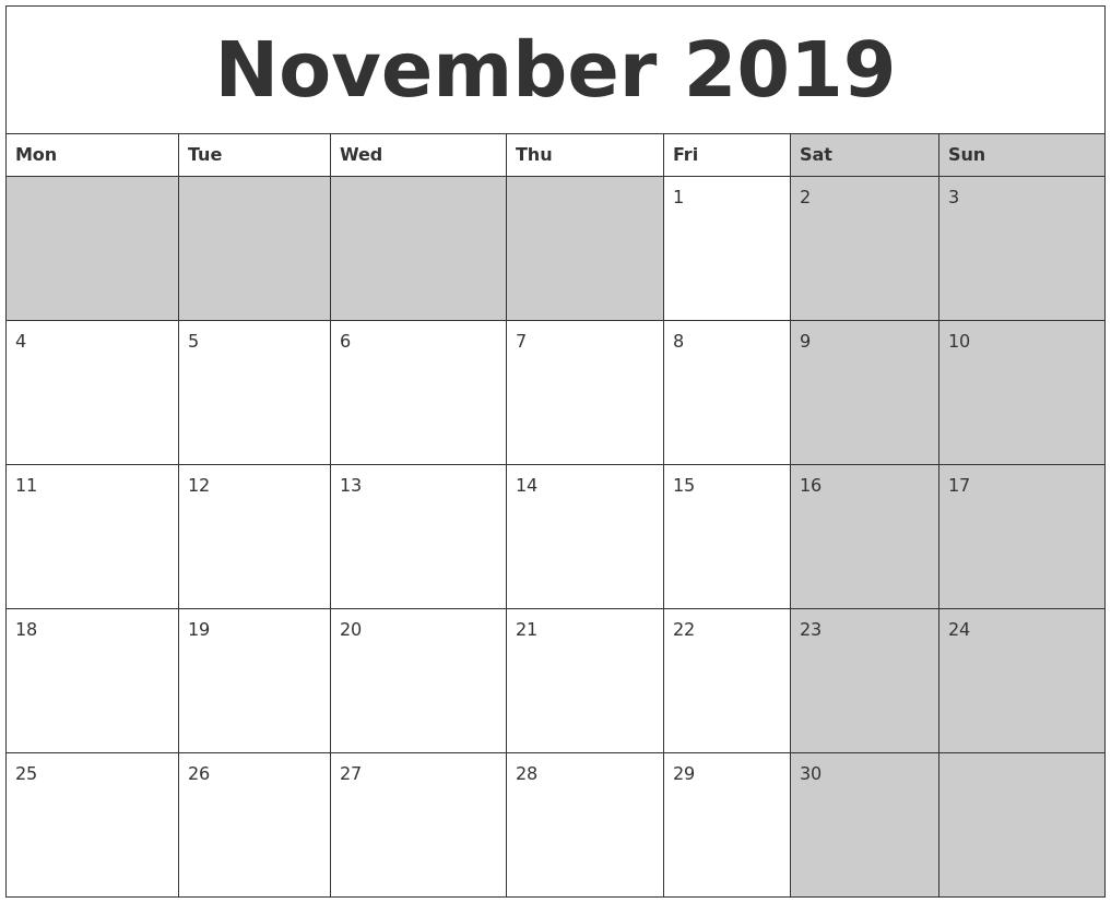 Calendar Zoom November 2019