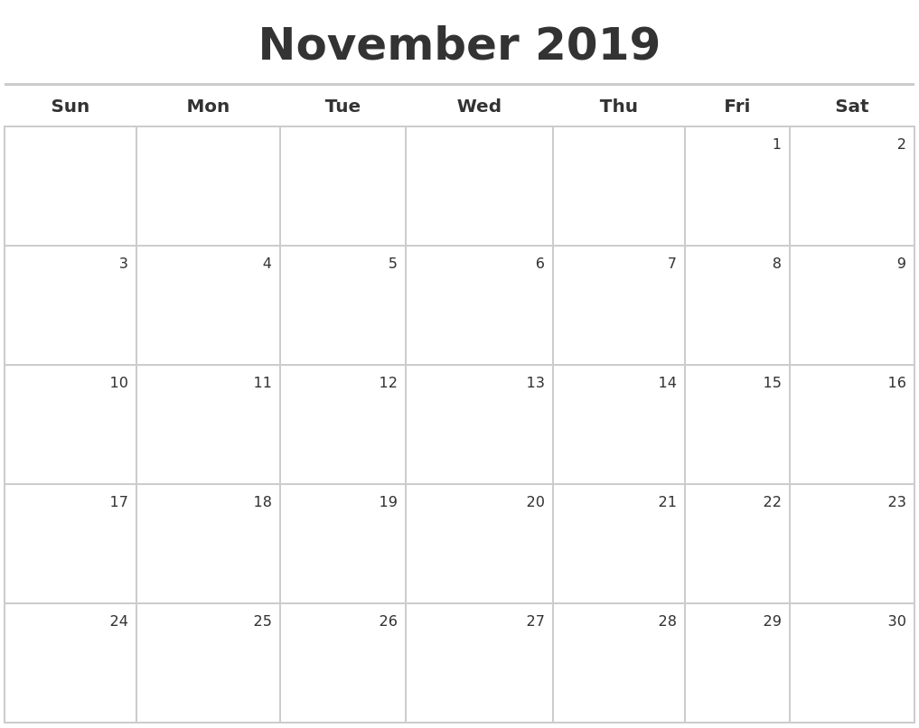 2019 november calender