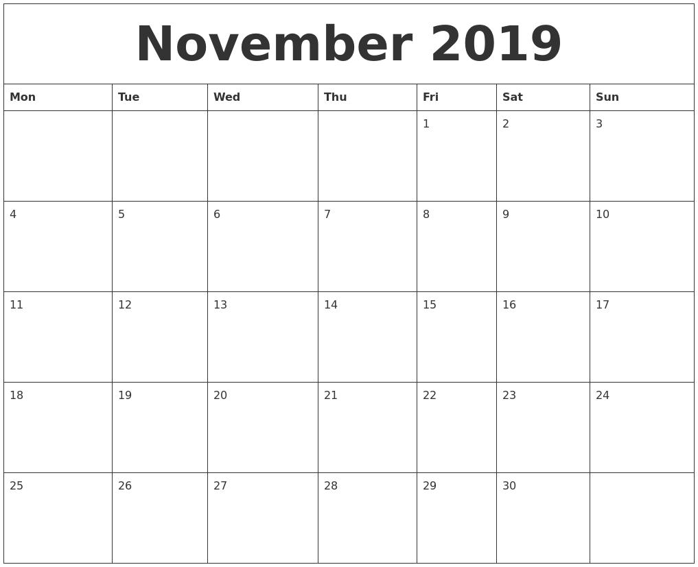 november 2019 calendar monthly