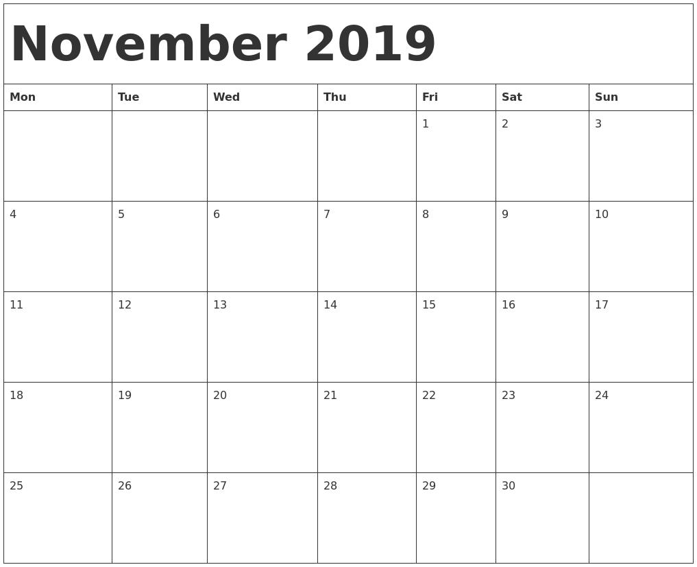 November 2019 Calendar Template PDF's