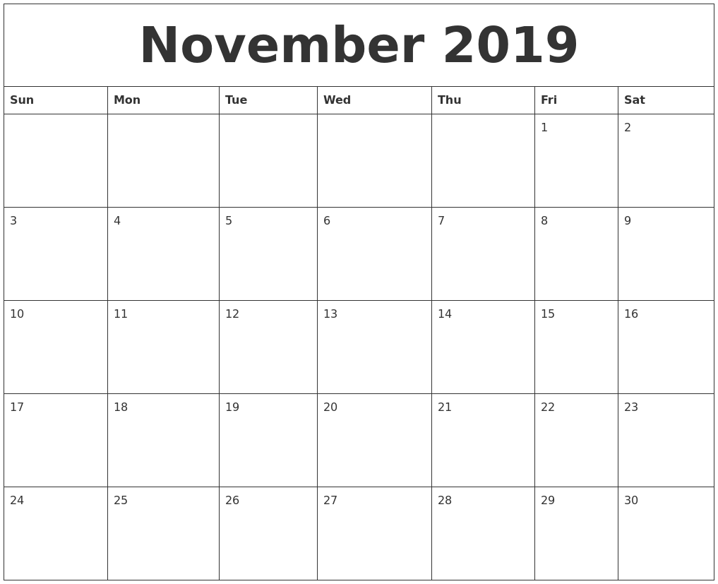 image relating to Printable Nov. Calendar called November 2019 Calendar