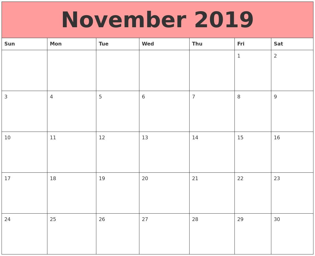 November 2019 Calendars That Work