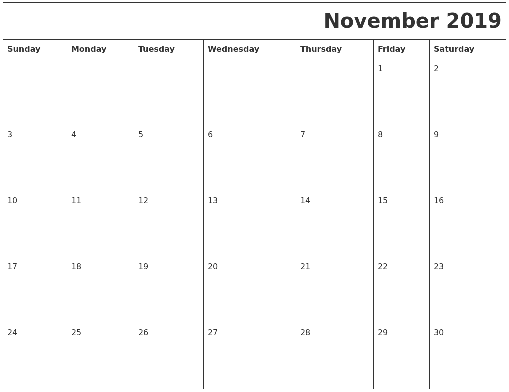 November 2019 Download Calendar