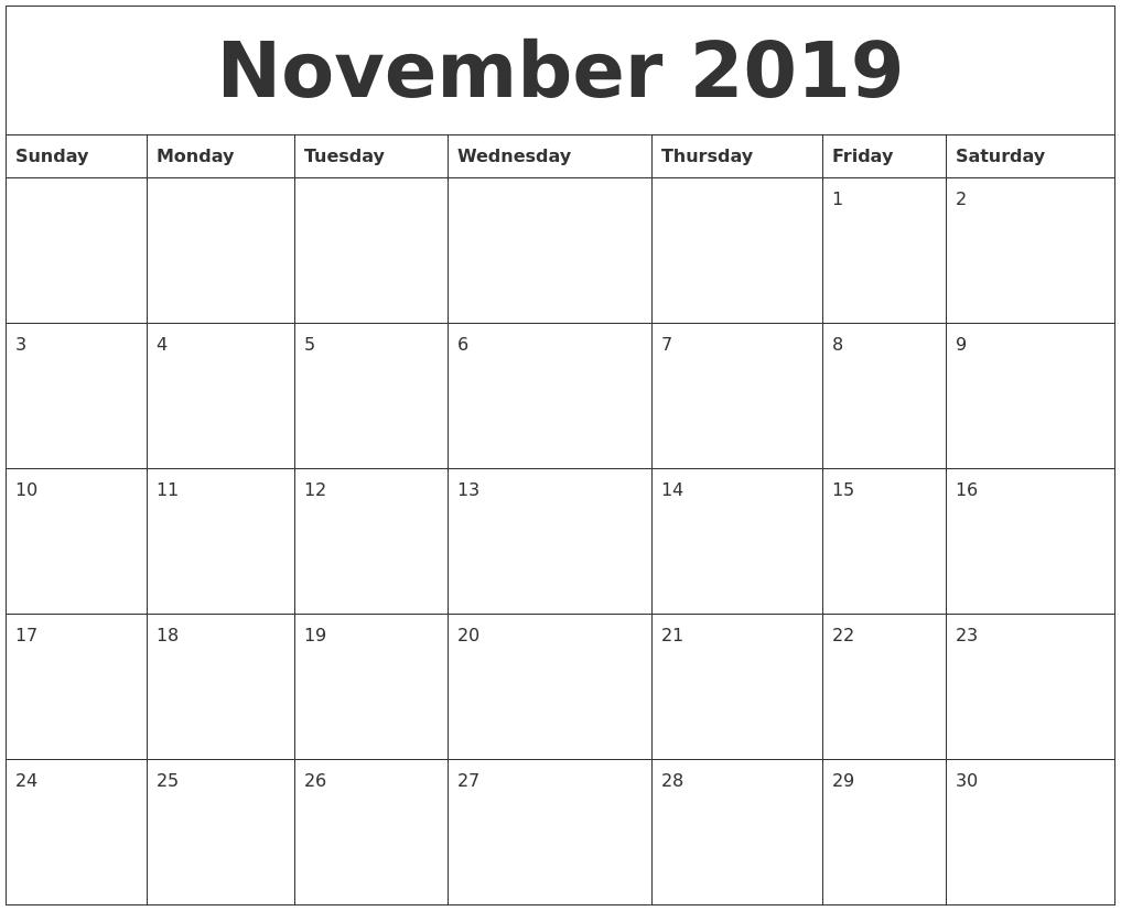 november 2019 free calander