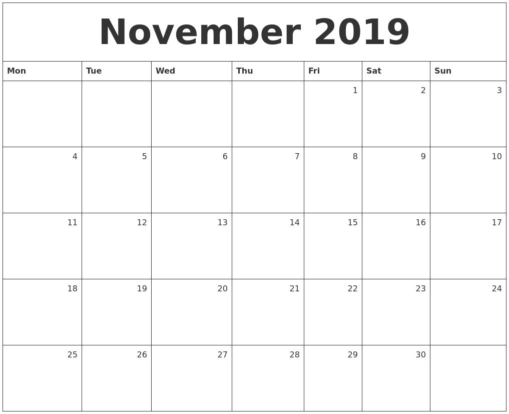 Monthly Calendar November : November monthly calendar