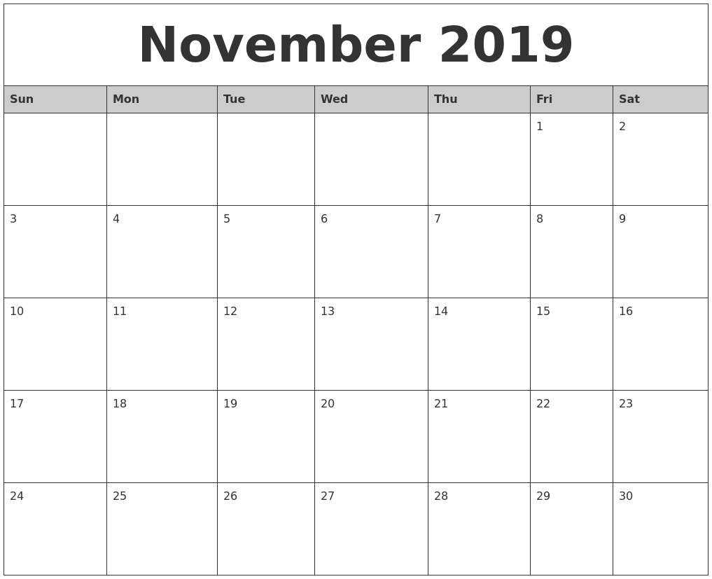 November Monthly Calendar : January create calendar