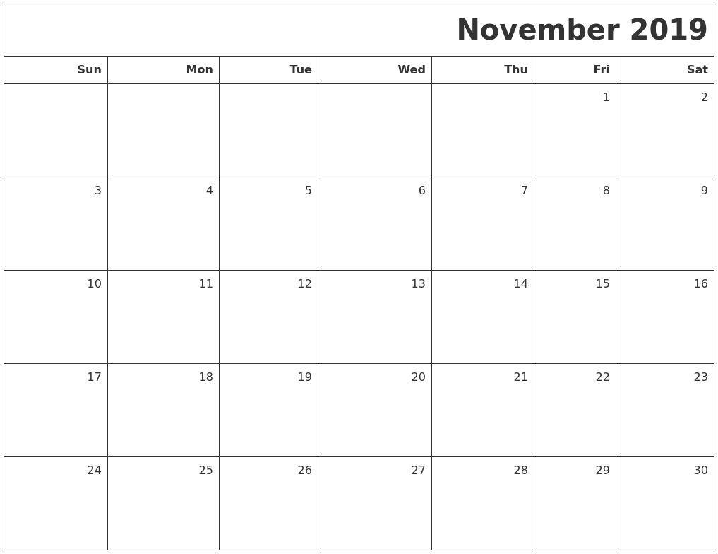 September 2019 Calendars To Print