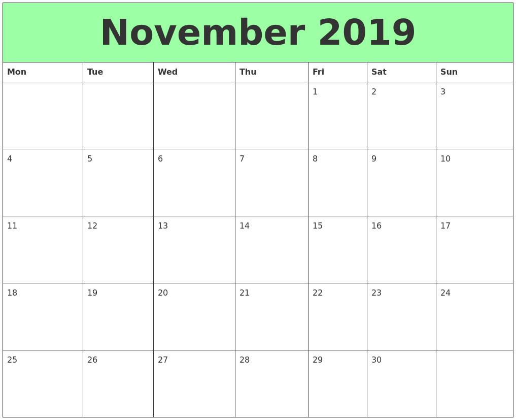 image regarding Printable Calendars identify November 2019 Printable Calendars