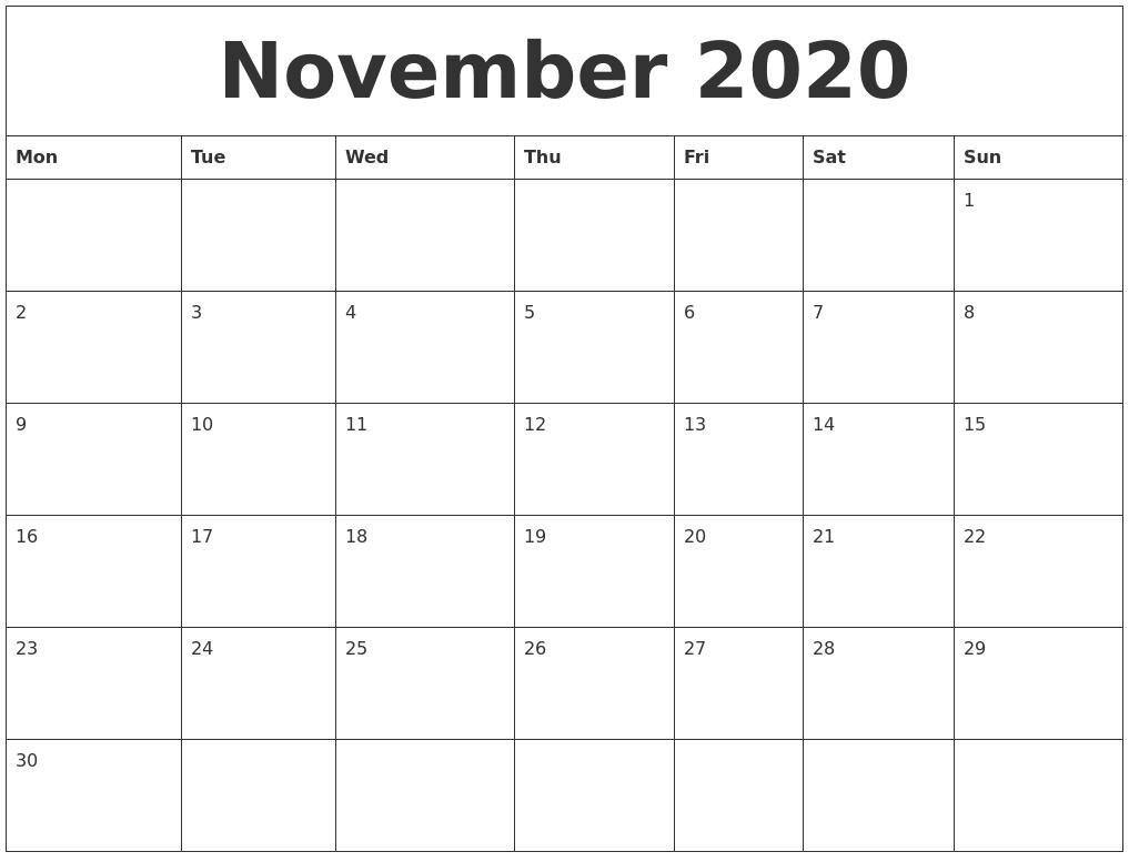 calendar printable december blank 2020 monthly november template month print calendars word august monday january september start weekly pdf create