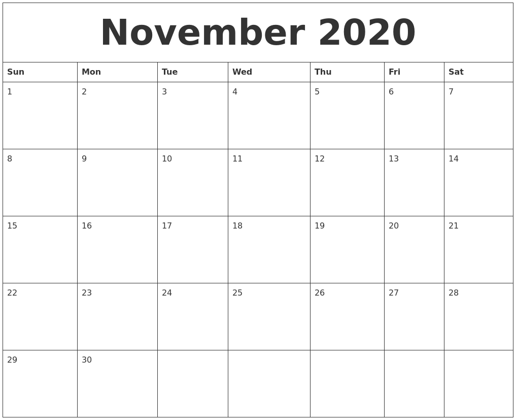 image about Blank November Calendar Printable referred to as November 2020 Blank Calendar Printable
