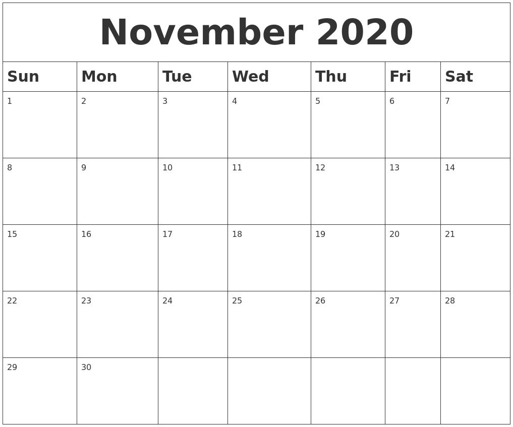 Blank Calendar November 2020.November 2020 Blank Calendar