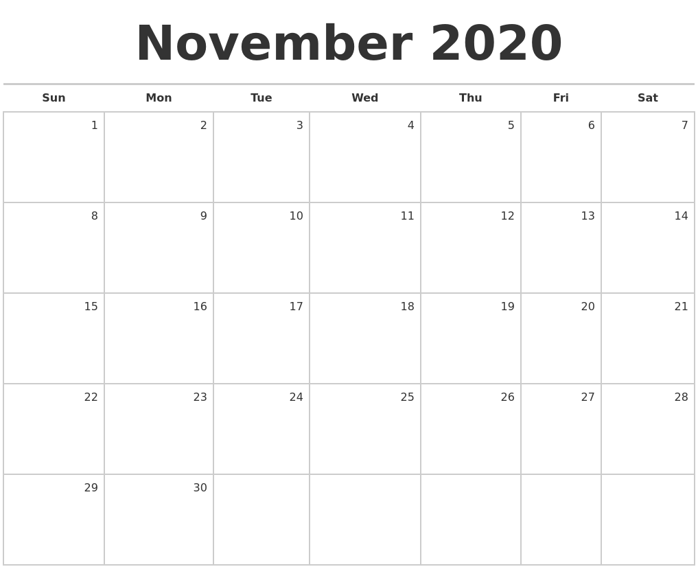 This is a photo of Crush Printable November 2020 Calendars