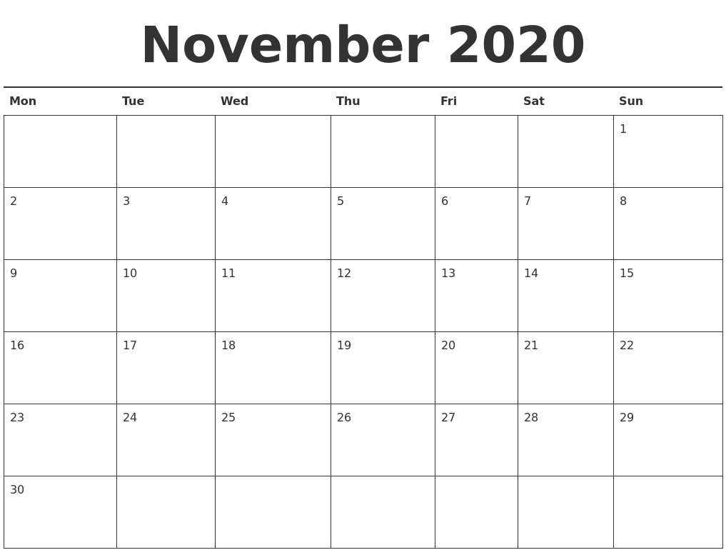 This is a graphic of Dashing Printable November 2020 Calendars