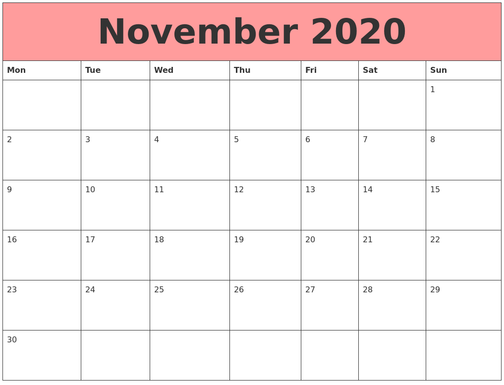 This is an image of Unforgettable Printable November 2020 Calendars