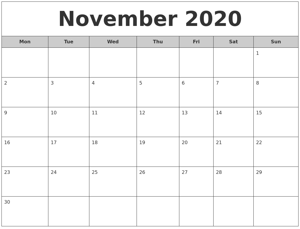 November 2020 Free Monthly Calendar PDF's