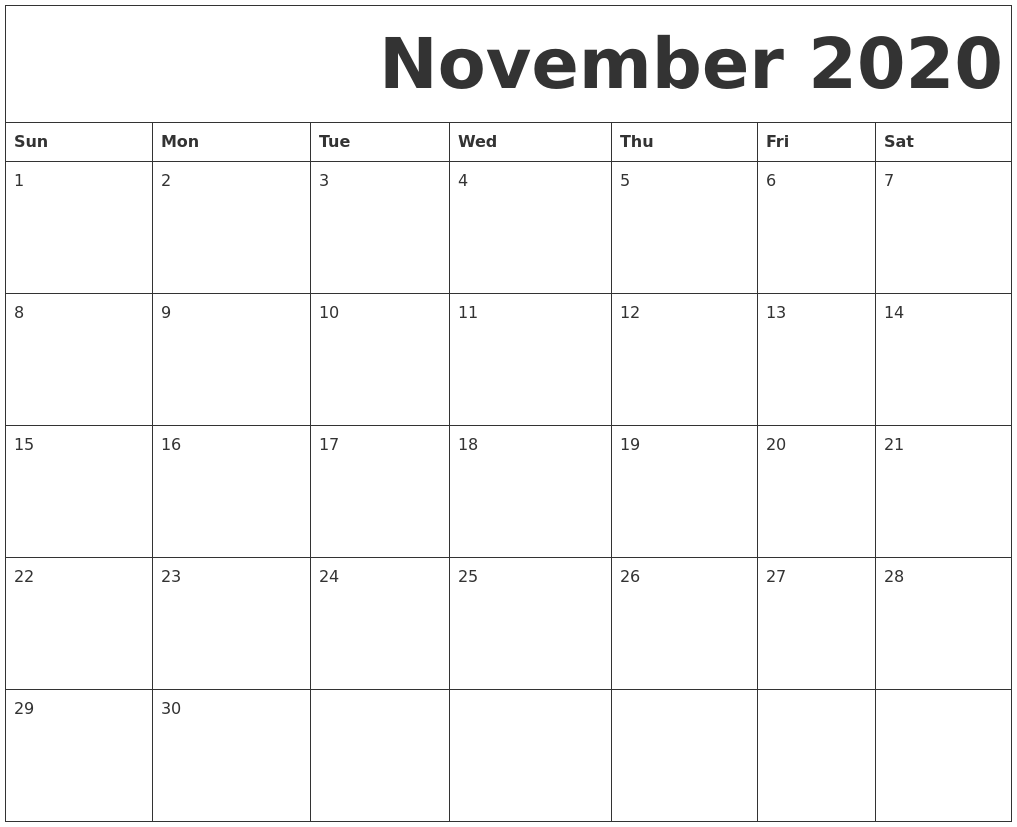 photo relating to Free Printable Calendar November known as November 2020 Free of charge Printable Calendar