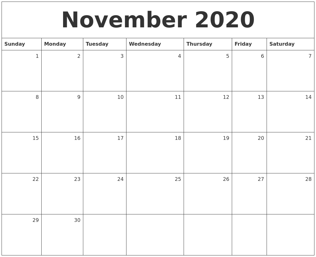 It's just an image of Hilaire Printable November 2020 Calendars