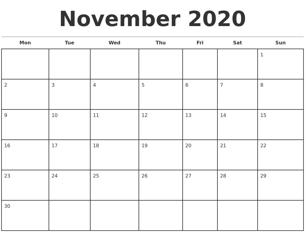 November 2020 Monthly Calendar Template