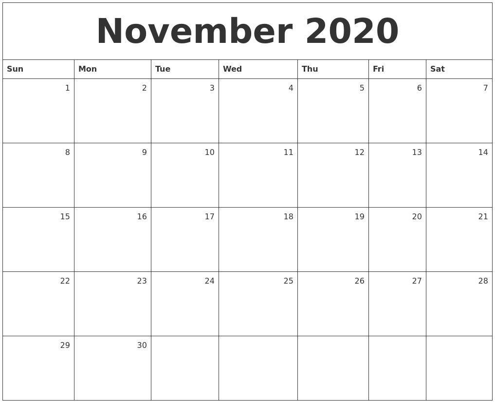 Monthly Calendar November : December calendar printable