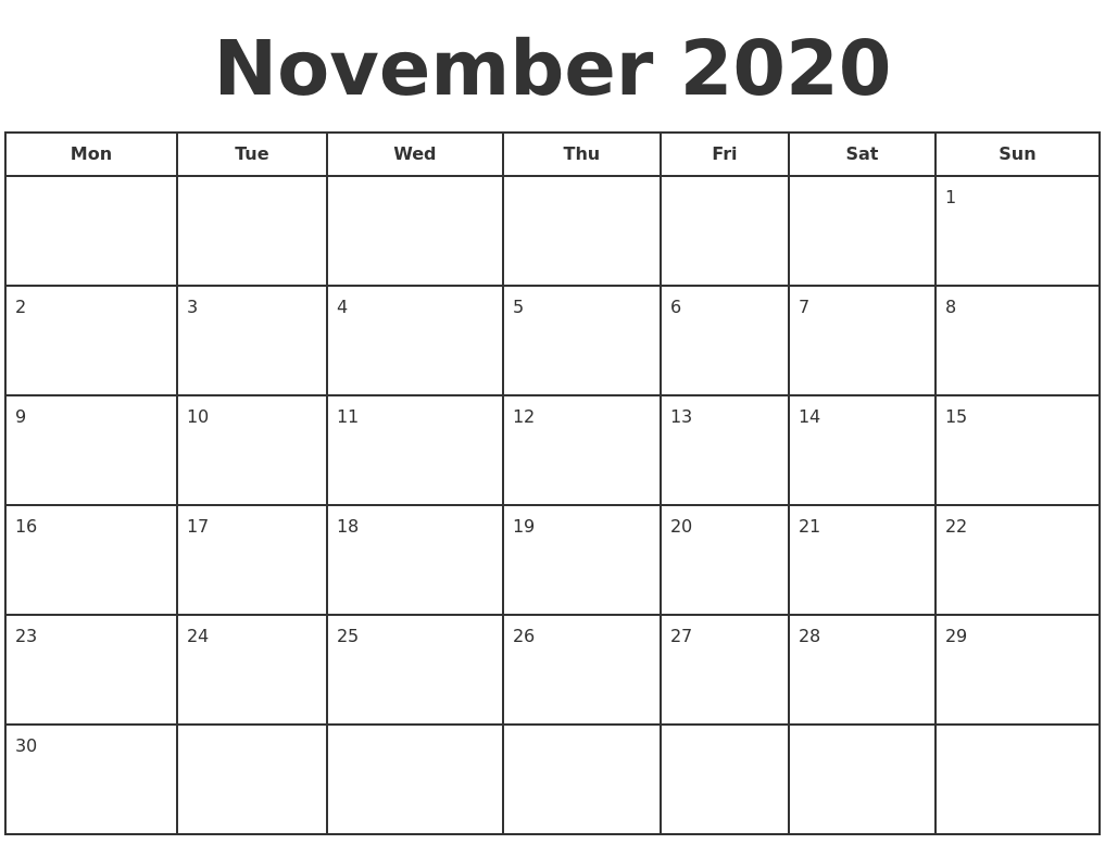 This is a graphic of Slobbery Printable November 2020 Calendars