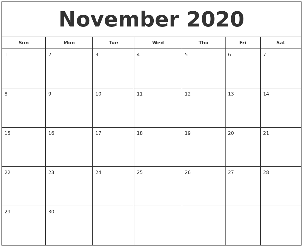 This is a photo of Rare Free Printable Calendars Nov 2020