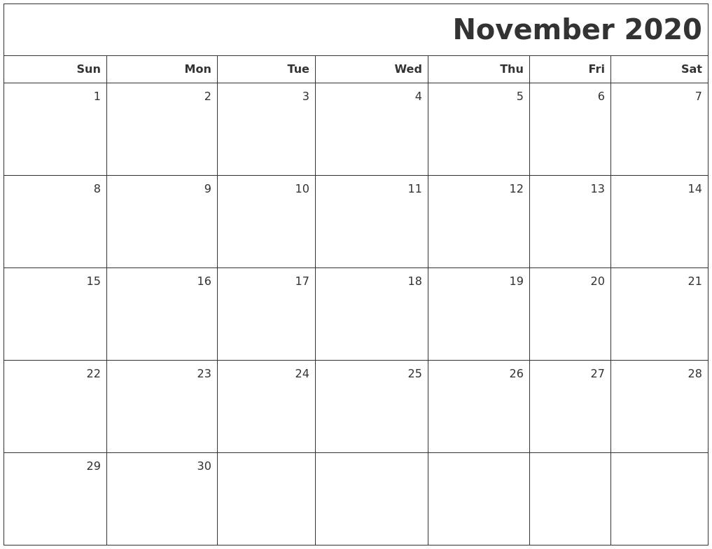 December 2020 Free Online Calendar