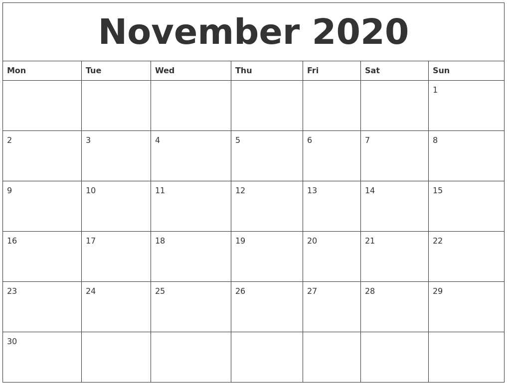 picture relating to November and December Calendar Printable named November 2020 Printable December Calendar