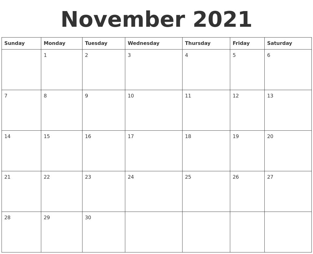 November 2021 Blank Calendar Template