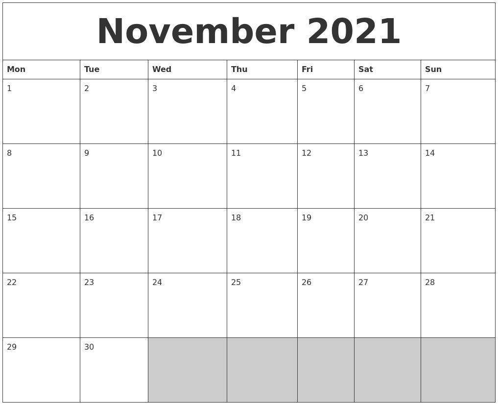 November 2021 Blank Printable Calendar PDF's