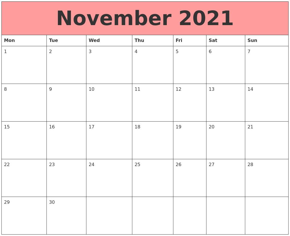 November 2021 Calendars That Work