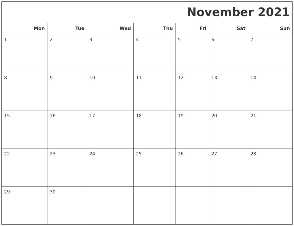 November 2021 Calendars To Print