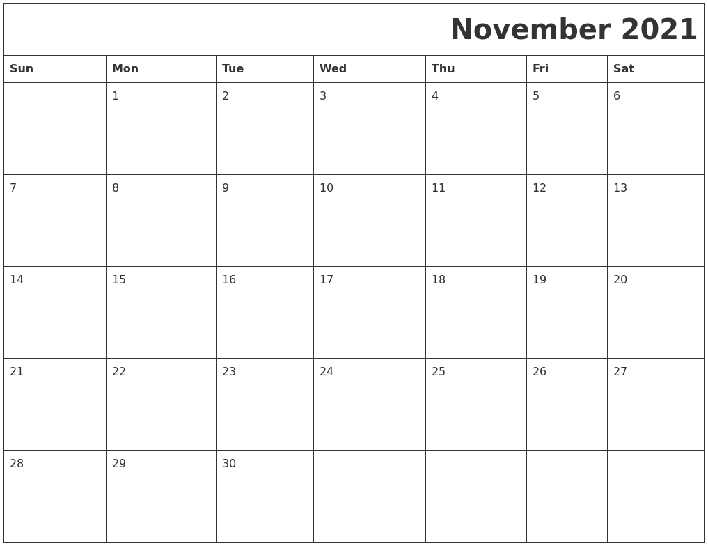 November 2021 Download Calendar