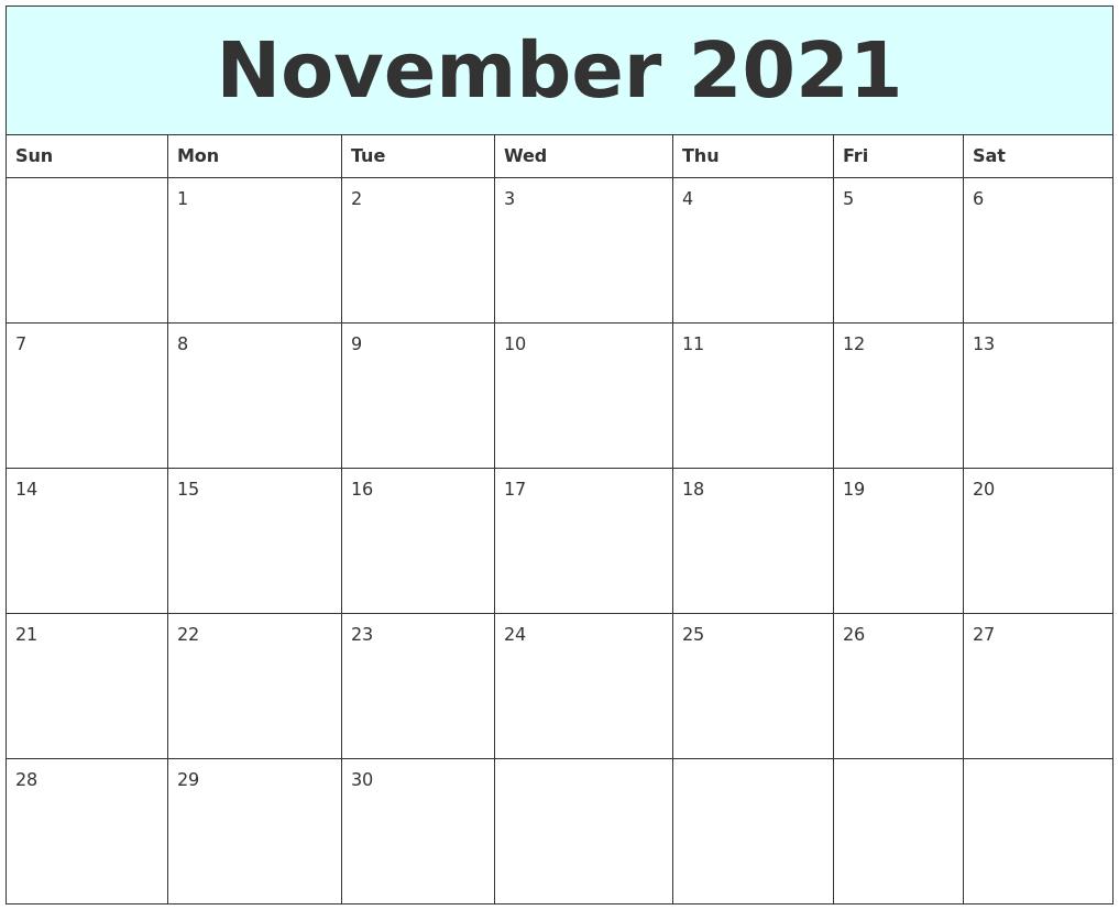 November 2021 Free Calendar