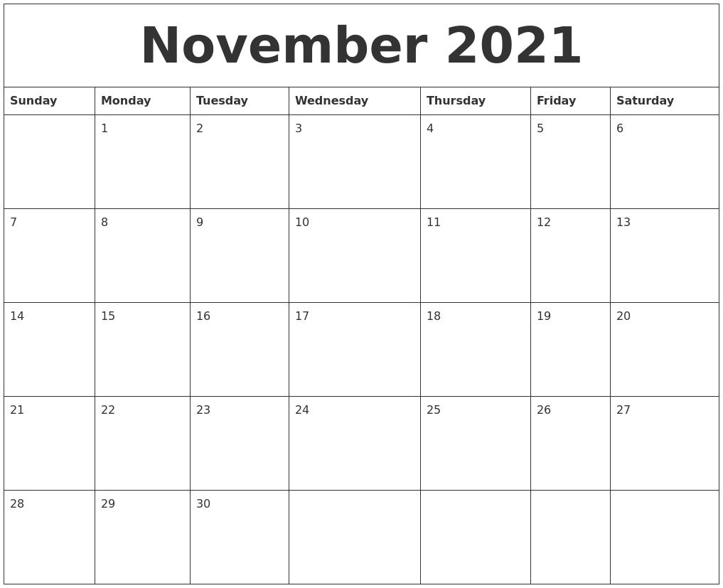 November Monthly Calendar 2021 November 2021 Free Printable Monthly Calendar